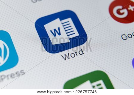 Sankt-petersburg, Russia, February 9, 2018: Microsoft Word Application Icon On Apple Iphone X Screen