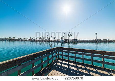 Sun Shining Over Oceanside Harbor In California