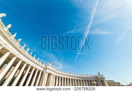 Saint Peter's Square Colonnade Under A Shining Sun