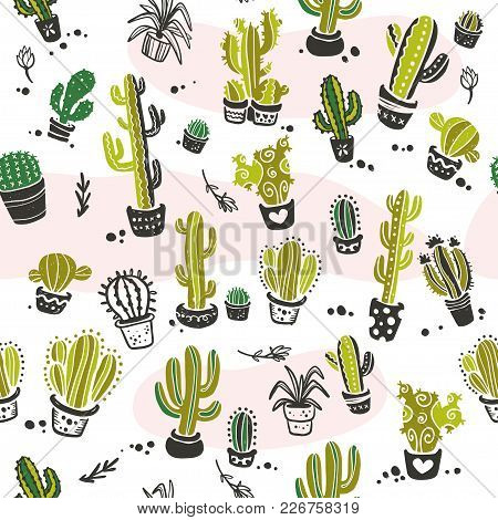 Vector Seamless Pattern With Hand Drawn Cactus Elements Isolated On  White Background. Floral Desert
