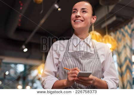 Yes Sir. Low Angle Of Pretty Tender Professional Waitress Grinning While Listening To Order And Usin