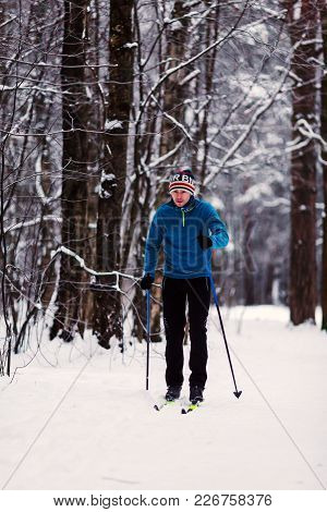 Photo Of Athlete Skier In Woods At Winter Afternoon