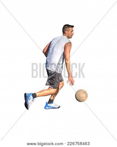 Side View Of A Basketball Player Dribbling On A White Background