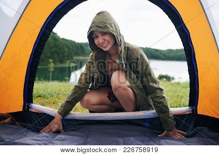 Beautiful Young Vietnamese Woman In Tent Entrance
