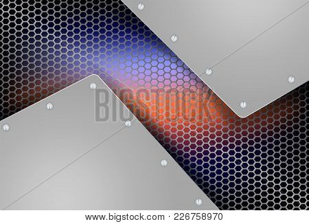 Geometric Background With Metal Grille And Two Metal-tinted Frames With Bolts