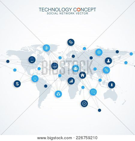 Geometric Graphic Background Communication.cloud Computing And Global Network Connections Concept De