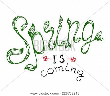 Simple Vector Hand Drawn Retro Lettering Design Element On Spring With Floral Decorative Elements An