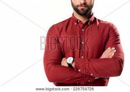Partial View Of Man With Arms Crossed Isolated On White