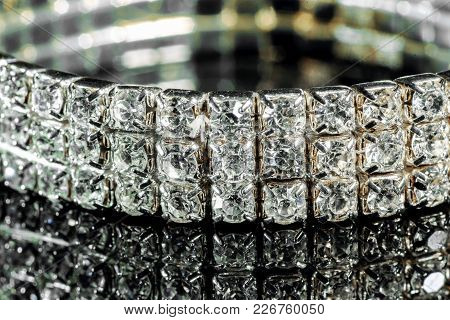 Bracelet With Diamonds Close-up On A Mirror Background
