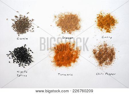 Many Spices Including Ginger Curry Turmeric Chili Pepper Black Cumin Nigella Sativa
