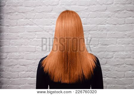 Sick, Cut And Healthy Hair. Red Hair After Treatment.