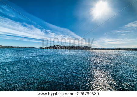 Sun Shining Over La Maddalena Blue Sea, Sardinia
