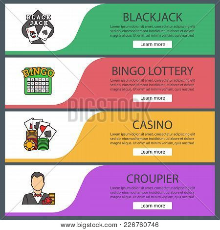 Casino Web Banner Templates Set. Blackjack, Bingo Lottery, Casino, Croupier. Website Color Menu Item