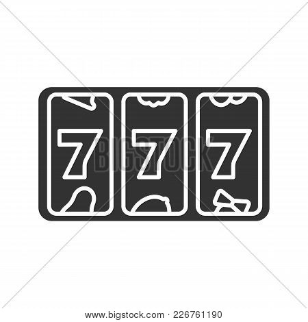 Slot Machine With Three Sevens Glyph Icon. Silhouette Symbol. 777. Lucky Seven. Casino. Negative Spa