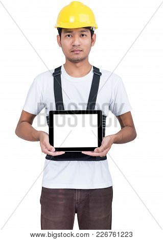 Portrait Engineer With Touchscreen Tablet Device In Business Isolated On White Background