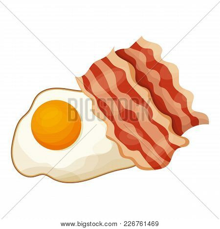 Bacon And Egg Icon. Cartoon Illustration Of Bacon And Egg Vector Icon For Web