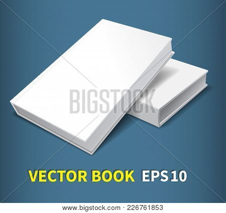 Two Hardcover Books.lying On The Table, One On Top Of The Other. A Clean White Cover For Your Busine