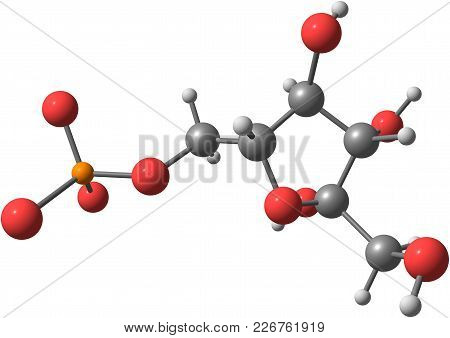 Fructose Molecular Structure On White Background