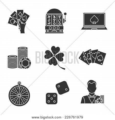 Casino Glyph Icons Set. Four Aces, Slot Machine, Online Casino, Dice, Croupier, Wheel Of Fortune, Ga