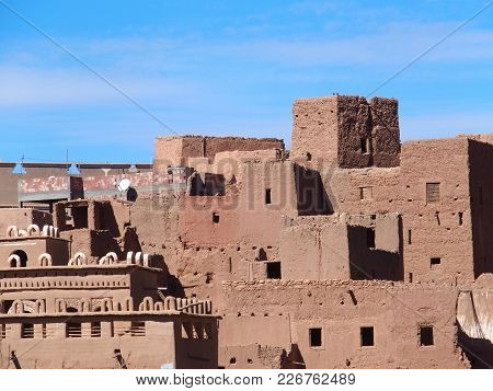 Housing Estate Of Tinghir Old Town In Atlas Mountains Range Landscapes In Southeastern Morocco With
