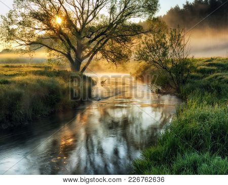 Spring Morning. Dawn Near A Picturesque River