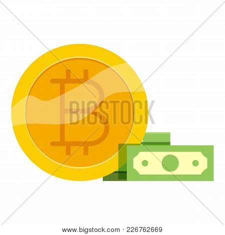 Bitcoin Trade Icon. Cartoon Illustration Of Bitcoin Trade Vector Icon For Web