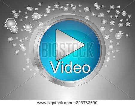 Play Video Button On Decorative Silver Background - 3d Illustration