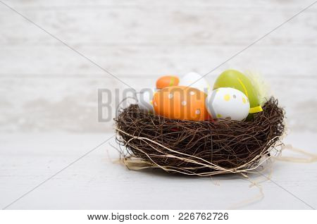 Happy Easter Decoration. Eggs In The Nest.