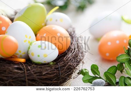 Easter Eggs Decoration, Eggs In The Nest