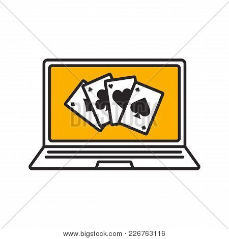 Online Casino Color Icon. Laptop Display With Four Aces. Isolated Vector Illustration