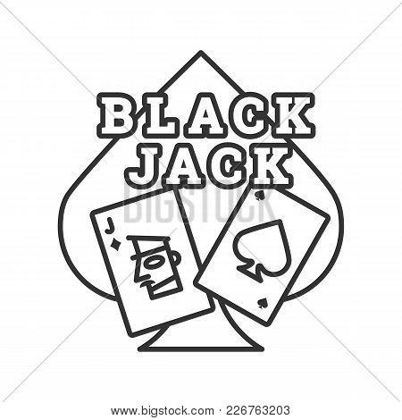 Blackjack Linear Icon. Card Game. Twenty One. Thin Line Illustration. Casino Contour Symbol. Vector