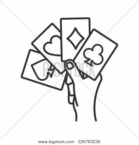 Hand Holding Four Aces Linear Icon. Playing Cards. Poker. Kare. Thin Line Illustration. Contour Symb