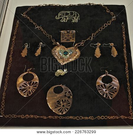 Replicas Of Antique Jewelry Displayed On Exhibition Expo