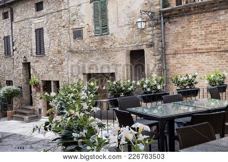Bevagna, Perugia, Umbria, Italy: Typical Street Of The Medieval Town