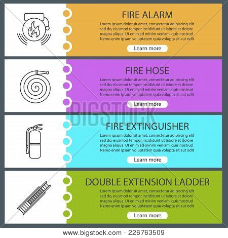 Firefighting Web Banner Templates Set. Alarm Bag, Fire Hose, Extinguisher, Double Extension Ladder.
