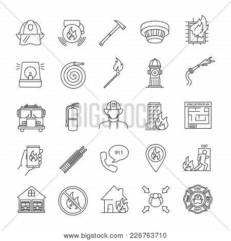 Firefighting Linear Icons Set. Fire Station Equipment. Thin Line Contour Symbols. Isolated Vector Ou
