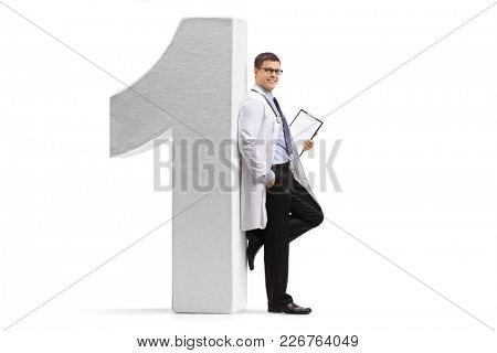 Full length portrait of a doctor leaning against a number one figure isolated on white background