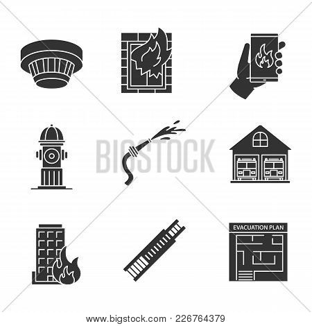 Firefighting Glyph Icons Set. Smoke Detector, Emergency Call, Hydrant, Burning Building, Hose, Evacu