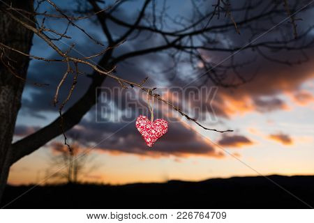 Valentine Postcard Or Wallpaper: Red Heart In Nature, Beautiful Photo, Sunset Sky,