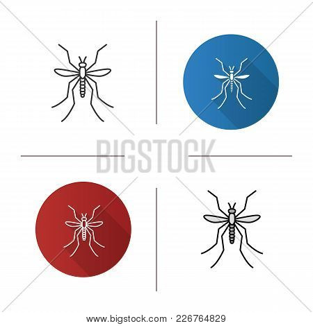 Mosquito Icon. Flat Design, Linear And Color Styles. Insect. Midge, Gnat. Isolated Vector Illustrati