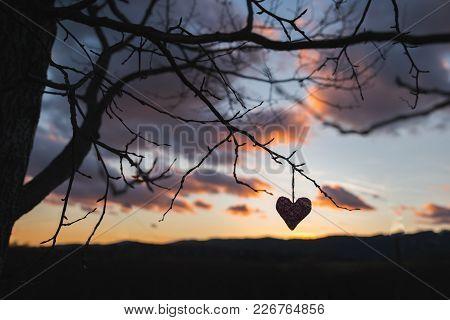 Dark Heart Silhouette, Sunset Sky In Background, Original Valentine Wallpaper.