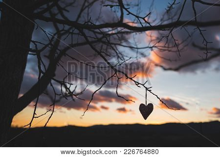 Silhouette Of Heart, Sunset Sky In Background, Colorful Photo