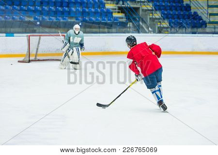 Hockey Players On Ice, Professional Hockey Game, Sport Photo, Goalie In Background