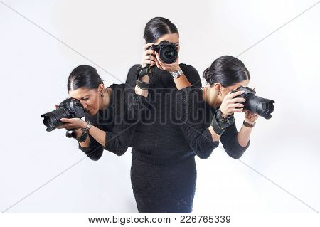 Busy Photographer, Lady Capturing Three Images At The Same Time, One Body - Three Motions