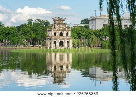 Turtle Tower (thap Rua) In Hoan Kiem Lake (sword Lake, Ho Guom) In Hanoi, Vietnam.