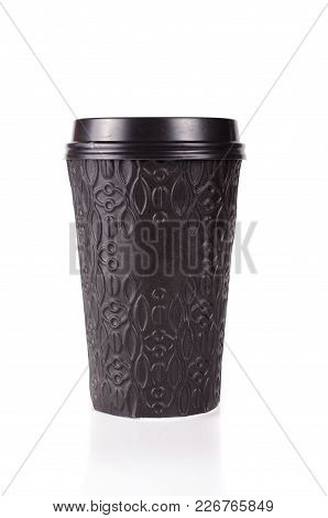 Black Paper Coffee Cup With Plastic Lid And Coffee Beans On The White Background