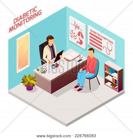 Diabetes Control Isometric Composition With Patient On Reception At Doctor, Office Interior Elements