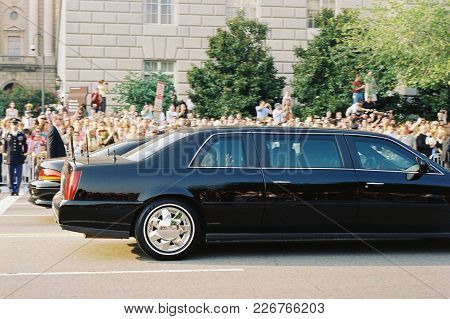Nancy Reagan Looking Out The Back Rear Window Of A Black Car During The Ronald Reagan Funeral Proces