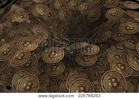 Background made of many cryptocurrency bitcoin - 3d rendering