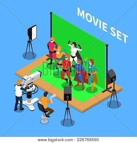 Telecommunication Isometric Composition With Shooting Of Movie About Superheroes On Blue Background